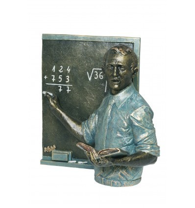 Realistic sculpture Teacher with blackboard by Angeles Anglada