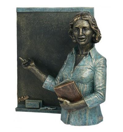 escultura decorativa de profesión PROFESORA CON PIZARRA