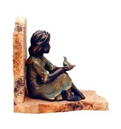 Girl contemplating bookend