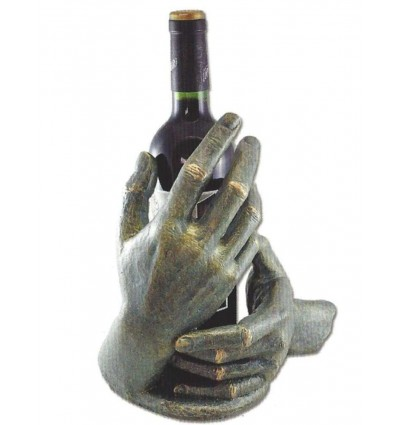 Decorativa escultura de manos PENSANDO EN TI (con botella)