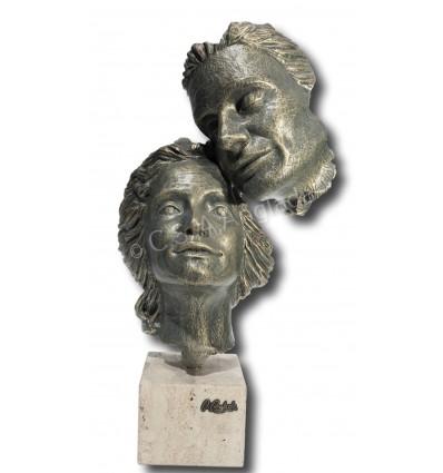 Escultura contemporánea de pareja MÁSCARA de Ángeles Anglada