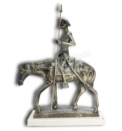 Realistic sculpture Don Quixote on a horse by spanish artist Angeles Anglada