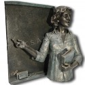 Realistic sculpture Teacher with blackboard by Angeles Anglada_left side