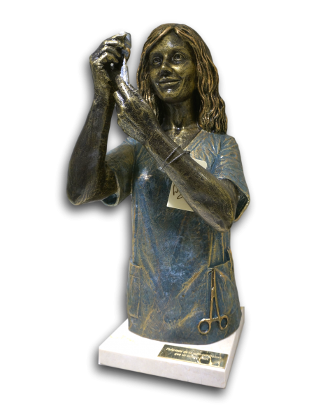 Realistic sculpture Nurse on the marble base by spanish artist Angeles Anglada_2